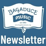 Bagaduce Music logo with the word Newsletter on a blue background